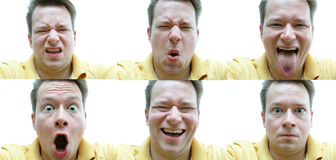 Faces. Six shots of the same male,each with a different expression Royalty Free Stock Photography