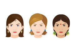 Faces of 3 women of different nationalities Stock Image