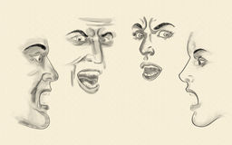 Faces. Charcoal illustrated faces, expression full Stock Photography