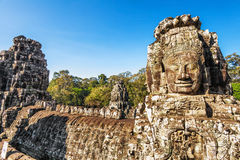Faces of ancient Bayon Temple At Angkor Wat Royalty Free Stock Photography