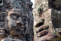 Faces of ancient Bayon Temple At Angkor Royalty Free Stock Photos