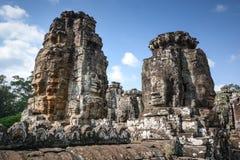 Faces of ancient Bayon Temple Stock Photos