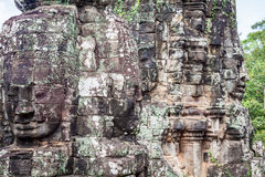 Faces of ancient Bayon Temple At Angkor Wat, Siem Reap, Cambodia Royalty Free Stock Images