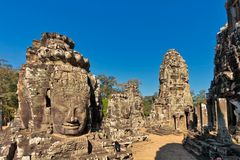 Faces of ancient Bayon Temple At Angkor Wat. Siem Reap, Cambodia Royalty Free Stock Images