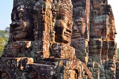 Faces in ancient Bayon Temple. Located in Angkor Wat, Siem reap, Cambodia Royalty Free Stock Photography