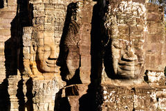 Faces of ancient Bayon temple. Popular tourist attraction in Angkor Thom, Siem Reap, Cambodia Royalty Free Stock Photos