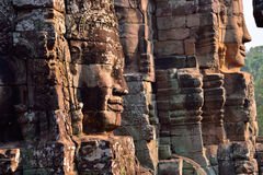 Faces of ancient Bayon Temple in Siem reap Royalty Free Stock Image
