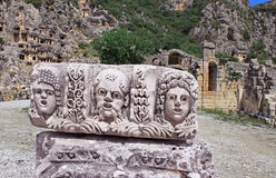 Faces from ancient city Myra Stock Photos