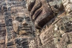 Faces of Angkor Thom temple, in Siem Reap Cambodia royalty free stock photos