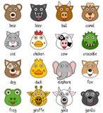 Faces animais dos desenhos animados ajustadas [1] Fotografia de Stock
