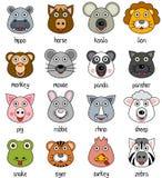 Faces animais dos desenhos animados ajustadas [2] Imagens de Stock