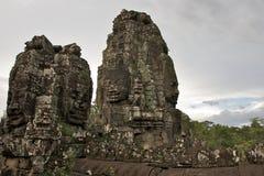 Faces of Avalokitesvara in Bayon Temple, Cambodia Royalty Free Stock Photo