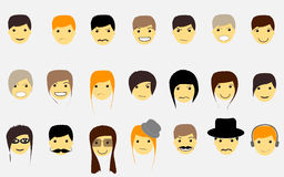 Faces for avatar boys and girls and emotions, with Stock Photo