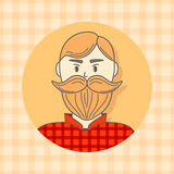 Faces Avatar in circle. Brutal man with beard. Vector illustration. Flat style. Stock Photos