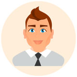 Faces Avatar in circle. Male Portrait Business Man. Vector illustration eps 10. Flat cartoon style. Stock Photos