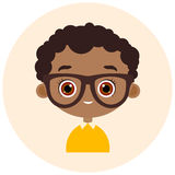 Faces Avatar in circle. Portrait African American boy with glasses. Vector illustration eps 10. Flat cartoon style. Royalty Free Stock Photos