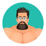 Faces Avatar in circle. Portrait Brutal Young Bearded Hipster male in eyeglasses.  Stock Image