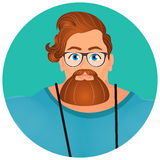 Faces Avatar in circle. Portrait Brutal Young Bearded Hipster male in eyeglasses. Royalty Free Stock Photo