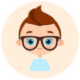 Faces Avatar in circle. Portrait young boy with glasses. Vector illustration eps 10. Flat cartoon style. Royalty Free Stock Photo