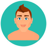 Faces Avatar in circle. Portrait young Man. Vector illustration eps 10. Flat cartoon style. Royalty Free Stock Photos