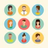 Faces avatars. Flat style vector icons set. Male and female faces avatars. flat style vector icons set Stock Photos