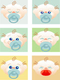 Faces of babies with different expressions. Six faces of babies with the habitual expressions but that the small ones make vector illustration