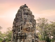 Faces of Bayon Temple. stock photos