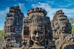 Faces of Bayon temple, Angkor, Cambodia stock photography