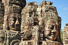 Faces of Bayon temple. In Angkor Thom, Siemreap, Cambodia Royalty Free Stock Image