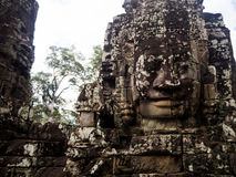 Faces of Bayon temple in Angkor Thom, Siemreap, Cambodia.  royalty free stock photos
