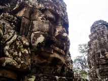 Faces of Bayon temple in Angkor Thom, Siemreap, Cambodia.  royalty free stock image