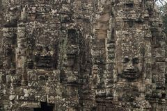 Faces of Bayon temple in Angkor Thom, Siemreap, Cambodia.ancient of Prasat Bayon temple, Angkor Thom , is popular tourist. Attraction in Siem reap, Cambodia royalty free stock photo