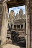 Faces of Bayon temple in Angkor Thom at Siemreap, Cambodia. Faces of Bayon temple in Angkor Thom at Siemreap on Cambodia Stock Image