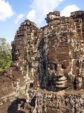 Faces of the Bayon temple in the Angkor Wat in Seam Reap City, Cambodia in 2012 , 9th December royalty free stock images