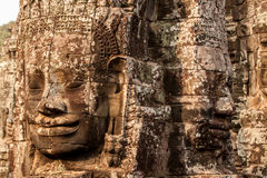 Faces of Bayon Temple, Cambodia. Stone faces of Bayon Temple in Angkor Thom, Siem Reap, Cambodia Stock Images