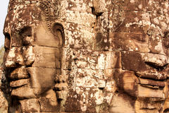 Faces of Bayon Temple, Cambodia. Stone faces of Bayon Temple in Angkor Thom, Siem Reap, Cambodia Stock Image