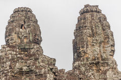 The faces at the Bayon Temple, Siem Riep, Cambodia. Face Stock Photo