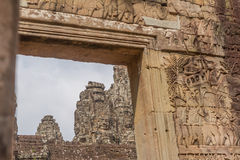 The faces at the Bayon Temple, Siem Riep, Cambodia. Face Royalty Free Stock Photography