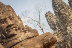 The faces at the Bayon Temple, Siem Riep, Cambodia. Face Stock Photography