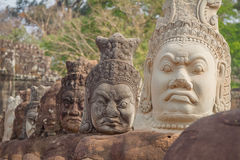 The faces at the Bayon Temple, Siem Riep, Cambodia. Face Royalty Free Stock Photo