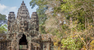 The faces at the Bayon Temple, Siem Riep, Cambodia. Face Royalty Free Stock Image
