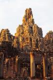 Faces in Bayon Temple at sunset, Angkor Wat Stock Image