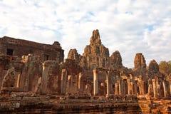 Faces in Bayon Temple at sunset, Angkor Wat Royalty Free Stock Photos