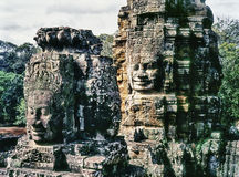 Faces On The Bayon Temple Towers Royalty Free Stock Images
