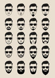 Faces with beard, user, avatar, vector icon set stock illustration
