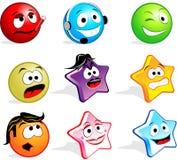 Faces bonitos do ícone Imagens de Stock