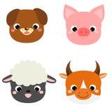 Faces bonitos dos animais A exploração agrícola do kawaii dos desenhos animados pets ícones ilustração royalty free