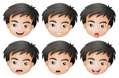 Faces of a boy. Illustration of faces of a boy on a white background Royalty Free Stock Photo