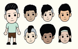 Faces of boys. Different types of men hairstyles and skin colors. Vector Stock Images