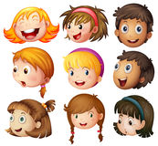 Faces of boys and girls on white background Royalty Free Stock Images
